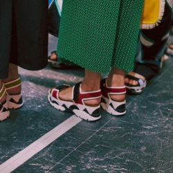 Platform velcro sandals backstage at Marni SS15 MFW. More images here: http://www.dazeddigital.com/fashion/article/21854/1/marni-ss15